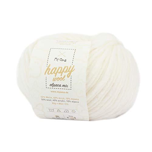 MyOma Alpakawolle zum Häkeln *1x Happy Wool Alpaca Mix schneeweiß (Fb 55)* 1 Knäuel Wolle weiß + GRATIS Label - Wolle mit Alpaka - 50g/80m - Nadelstärke 7-8mm - Wolle zum Stricken - weiße Wolle -