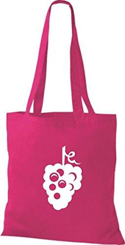 ShirtInStyle Stoffbeutel Baumwolltasche Dein Lieblings Obst und Gemüse Traube Weintraube Farbe Pink fuchsia