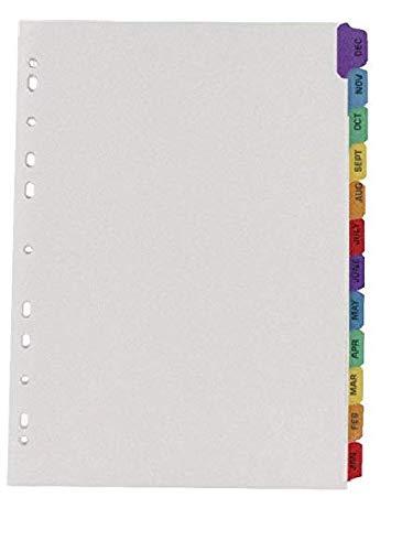 Q-Connect KF01524 Register A4 Januar bis Dezember mehrfach gelocht, verstärkte Reiter, mehrfarbig