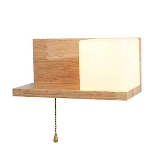 1 Licht-winkel (Wandlampe Mit Quadratischem Glasschirm Holz Rechter Winkel Wandleuchte Dekoration Wandbeleuchtung Wandzubehör E27 1 Licht(Holzfarbe))