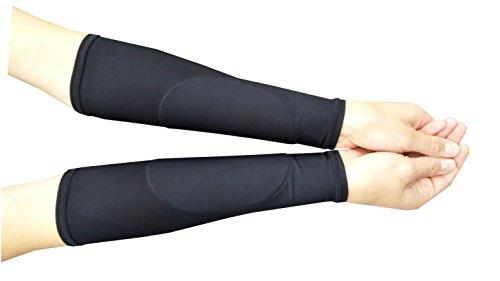 VOLLEYBALL ARM SLEEVES - BLACK PAD ON BLACK SLEEVES - FOREARM SLEEVES NO THUMBHOLE
