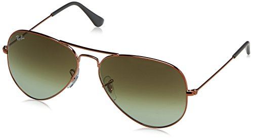 RAYBAN JUNIOR Unisex-Erwachsene Sonnenbrille Aviator, Shiny Medium Bronze/Green Gradient Brown, 58