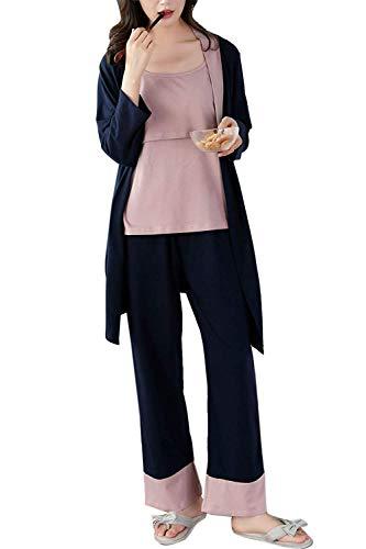 Umstandspyjama Für Damen Stillen Pyjamas Fashion Elegant Wesentlich Longsleeve Mutterschaft Krankenpflege Pyjama Legt Lange Ärmel Loungewear 3 Pack (Color : Marine, Size : M) - Mantel Pyjamas