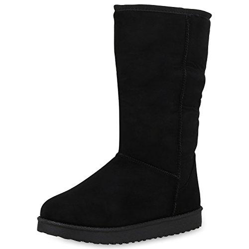 SCARPE VITA Damen Schlupfstiefel Warm Gefütterte Stiefel Profil Winter Boots 152445 Schwarz 39