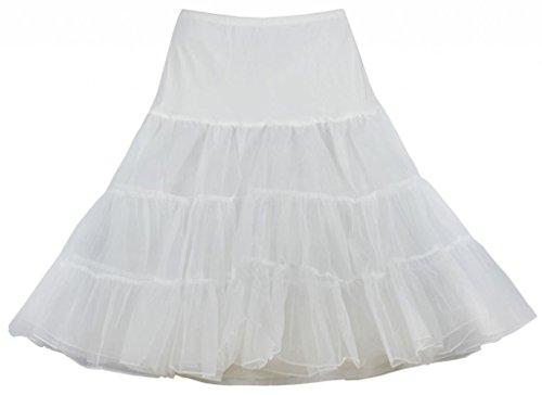 Eyekepper Jupe courte femme demoiselle taille haute de belle couleur fete dance party cocktail Blanc
