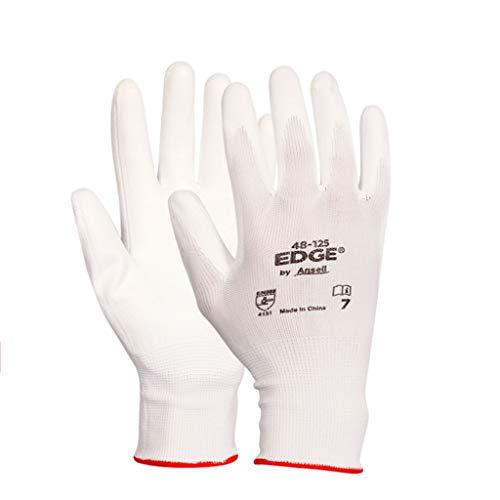 ZXW Handschuh- Verschleißfeste Rutschfeste Handschuhe PU-Nitril-Beschichtung Dip Palm Polyester atmungsaktive Schutzhandschuhe 12 Paar (Farbe : Weiß, größe : L) -
