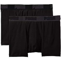 Puma 521015001 - Boxer - Uni - Lot de 2 - Homme - Noir (Black) - M