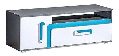 Jugendzimmer - TV-Unterschrank Oskar 17, Farbe: Anthrazit/Weiß/Blau - 42 x 120 x 40 cm (H x B x T)