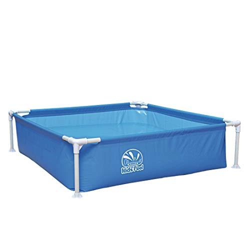 Jilong Kids Pool Blau 122x122 Stahlrahmen Planschbecken Kinder-Pool Schwimmbecken Garten Schwimmbad