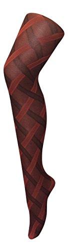 Sock snob - 1 paia calze collant donna 40 den eleganti disegni fantasia (cable red)