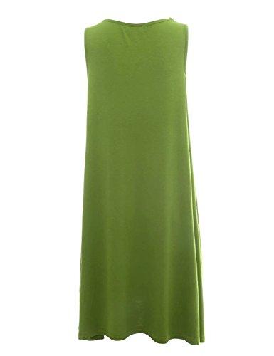 Sommerkleider Damen Knielang A-Linie Ärmellos Elegant Casual Lang T-shirts Sommer Mini Kleid Strandkleid Grün