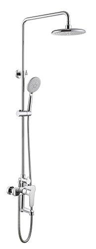NIHE Ensemble de robinet de douche de salle de bain Ensemble de baignoire Robinet de douche chromé Baignoire Robinet de douche Chute d'eau Grande pluie Pomme de douche - Garantie de 5 ans