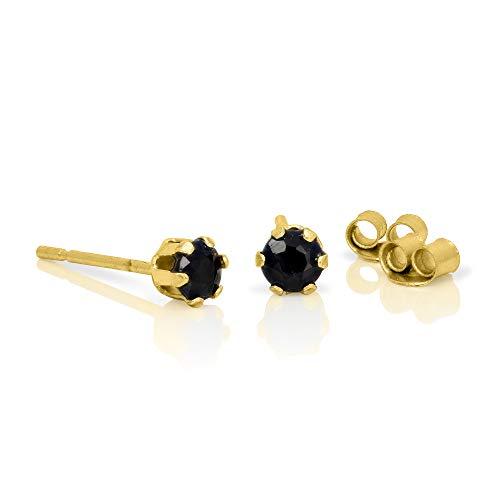 Orecchini punto luce in oro giallo 9ct e pietre preziose zaffiri rotondi di 3mm