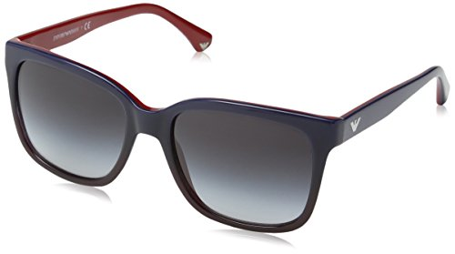 Emporio armani 0ea4042 53478g 55, occhiali da sole donna, blu (bluette gradient on red/greygradient)