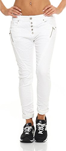 SKUTARI Damen - Jeans Boyfriend Stretch Denim Zip-Taschen , Weiß , Gr. XL (Denim-stoff Stonewashed)