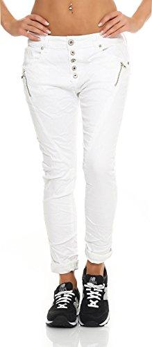 SKUTARI Damen - Jeans Boyfriend Stretch Denim Zip-Taschen , Weiß , Gr. M (Batik Silhouette)