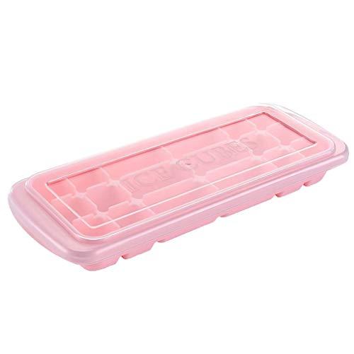 TianranRT❄ Eiswürfelschale,Eiswürfelform Eisherstellung Eisbox Modell Hausgemachte Eiswürfelschale Mehrzweck-Silikon Mit Deckel Küchenbedarf (Rosa)