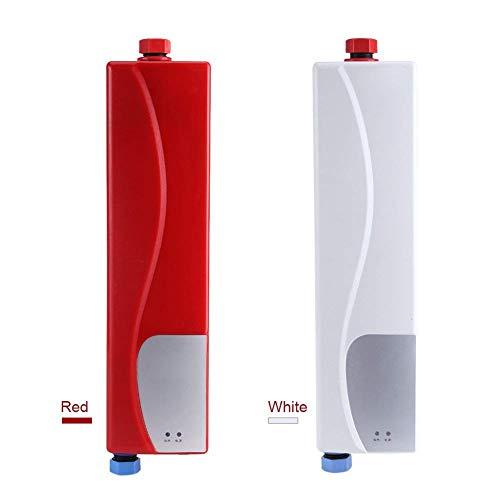 3000W Mini Calentador Instantáneo Eléctrico de Agua sin Tanque con Válvula de Alivio de Presión 220V con Enchufe EU para Casa Cocina Baño (Blanco/Rojo) Socialme-eu (Blanco)