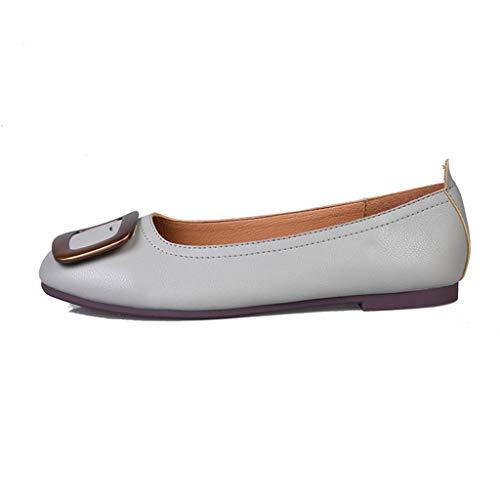 Damenschuhe, Arbeitsschuhe flachen Mund einzelne Schuhe flachen Boden Scoop Schuhe quadratischen Kopf, Schnalle weichen Boden, Ei Roll Schuhe,A,38 Scoop Boden