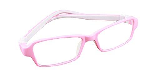 De Ding Jungen Mädchen Silikon Optische Kurzsichtige Brillen Rahmen Mehrfarbig PinkWhite