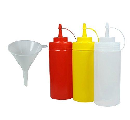 Viva Haushaltswaren - 3 x Quetschflasche 0,45 L Set, Gastro Dosierflaschen leer für Ketchup / Mayonnaise / Senf, BPA frei, BBQ & Küchen Squeeze Flasche aus Kunststoff, rot / gelb / weiß, inkl Trichter (Trichter Für Speise)