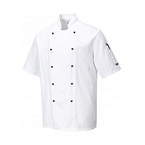 Portwest C734 - Chaqueta Kent cocineros, color Blanco, talla Large