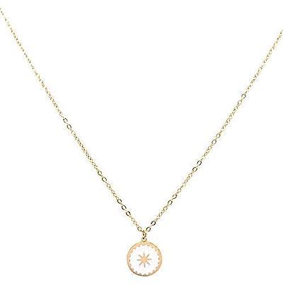 Collier petite Etoile en acier inoxydable Blanche - Médaille étoile émaillée