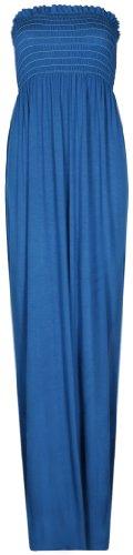 Purple Hanger - Longue Robe Bustier Femme Sans Bretelles Elastique Bandeau Uni Eté Bleu Vert
