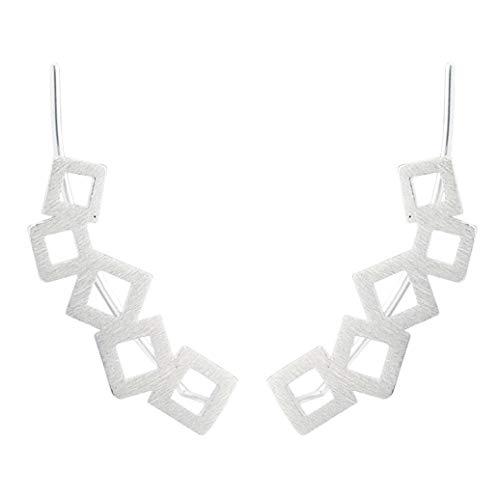 LAXPICOL 925 Sterling Silber modische geometrische quadratische Ohrkletter-Ohrringe für Frauen und Mädchen (Paare Kostüm Zum Verkauf)