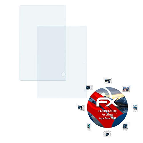 atFolix Schutzfolie kompatibel mit Lenovo Yoga Book C930 Panzerfolie, ultraklare & stoßdämpfende FX Folie (2er Set)