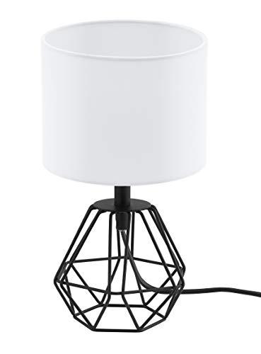 EGLO Tischlampe Carlton 2, 1 flammige Vintage Tischleuchte, Nachttischlampe aus Stahl und Stoff, Farbe: Schwarz, weiß, Fassung: E14, inkl. Schalter