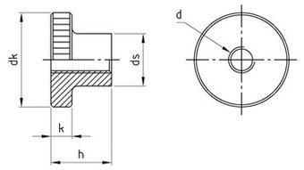 Rändelmuttern, hohe Form, DIN 466 Edelstahl 1.4305 M 8 mm, Paket â 25 Stück