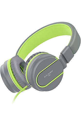 AILIHEN Kinder Kopfhörer mit Kabel Mikrofon Lautstärke Kontroller Faltbarer Leicht Kinderkopfhörer 3.5mm Jungen Mädchen On-Ear Headsets für Mobiltelefone Tablet Smartphone Laptop Computer (grau grün)