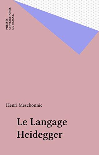 En ligne téléchargement Le Langage Heidegger pdf epub