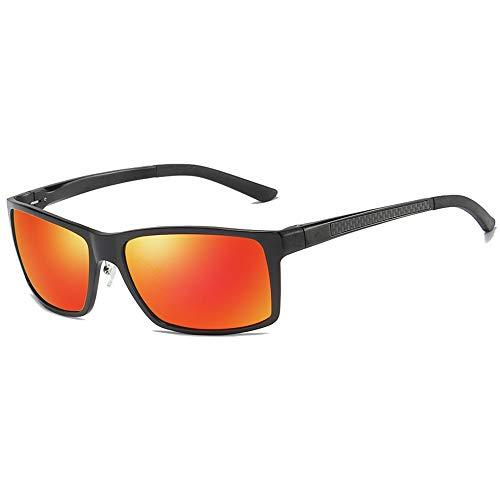 KJDFN Sportliche Aluminium-Magnesium-Sonnenbrille Mit Schwarz/Roter Linse. Schwarze Fassung Für Männer Und Frauen Mit Der Gleichen Sonnenbrille Trend (Farbe : Red)