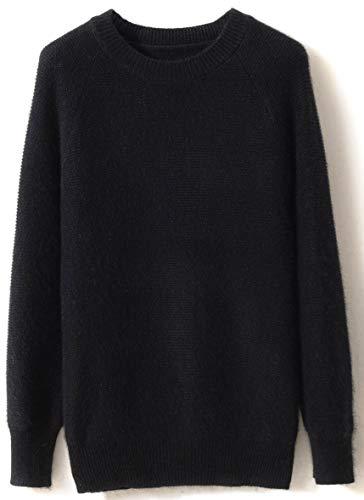 LinyXin Cashmere Damen Kaschmir Pullover Wolle Rundhals Langarm Freizeit Winter Warm Pulli Sweater (L / 42-44, Schwarz)