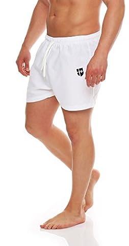 Gennadi Hoppe Herren Badeshorts Badehosen Swim Shorts kurz (M, weiß)