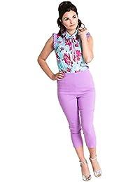 18657b96fbbc5 Pantaloni Capri 3 4 di Hell Bunny Tina in Stile Retro Vintage degli Anni 50
