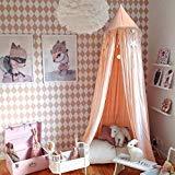 jeteven Baumwolle Dome Betthimmel Kinder spielen Zelt Moskitonetz für Baby Kinder Indoor Outdoor Spielen Lesen Höhe 240cm (94,5Zoll) Pink, Baumwoll-Canvas, rose, 240cm height