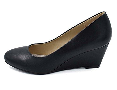 Greatonu Chaussures Femme Compsensée Mi Talon EU 36-41 (Un Peu Petite) Noir Vernis