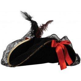 Wicked Costumes - Cappello da pirata da donna, accessorio per costume da carnevale, con piuma