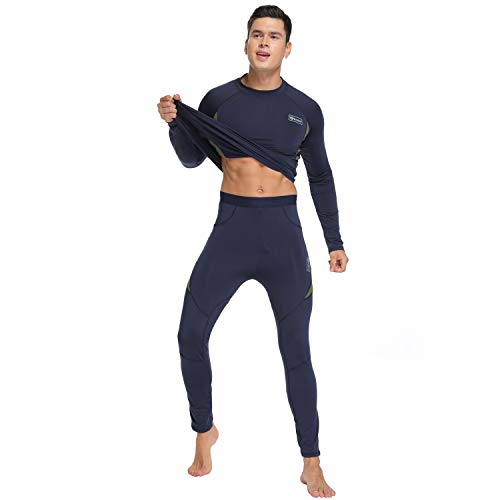 UNIQUEBELLA Ensemble de sous-Vêtement Thermique Homme Maillot Manches Longues + Pantalon (Bleu, L)