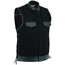 Leatherick Chaleco de piel de color negro con cordones, con bolsillos para pistola.