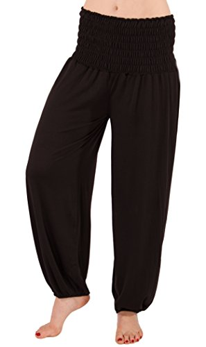 FASHION YOU WANT Damen Haremshose Pumphose Aladinhose Sommerhose Modal Jogginghose Yoga Pilates Stretch Hosen Pants Relax Festivalhose ideal für Sport und Freizeit (38/40, schwarz)