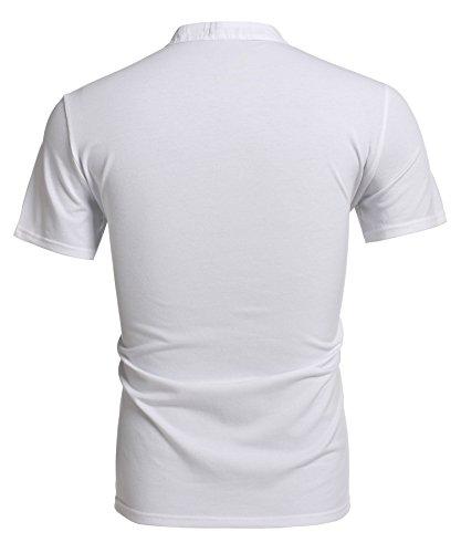 Coofandy Herren V-Ausschnitt t-shirts T-Shirt kurzarm mit Knöpfen Slim Fit Freizeit t-shirts Weiß