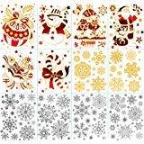 Aufkleber, weiße dekorative Schneeflocken, Weihnachtsmann, Weihnachtsbaum, Fensteraufkleber, für Winter-Wunderland, Party, Heimdekorationen Mehrfarbig ()