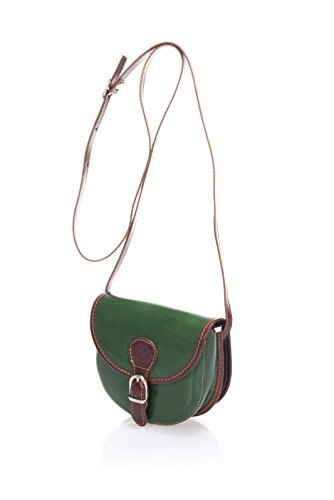 """Show Some Love """"Carolina"""" Italienische Handtasche Damen Crossbody-Tasche Schultertasche Umhängetasche echt Leder. Made in Italy. Green"""