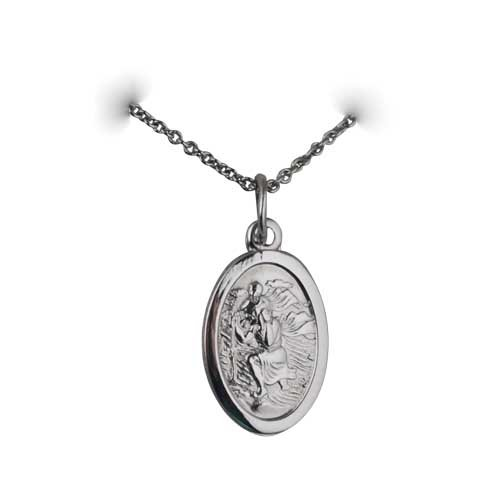 Palladium 17x11mm oval St Christopher Pendant with a trace Chain