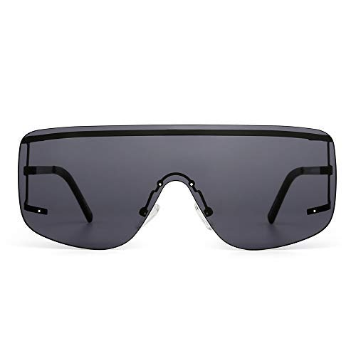 Oversized Schild Sonnenbrille Flach Top Gradient Linse Randlos Brille Damen Herren(Schwarz/Grau)