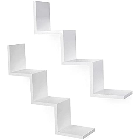 Songmics Juego de 2 estantes para libros CDs Estanterías de pared Cubos retro Blanco LWS67W